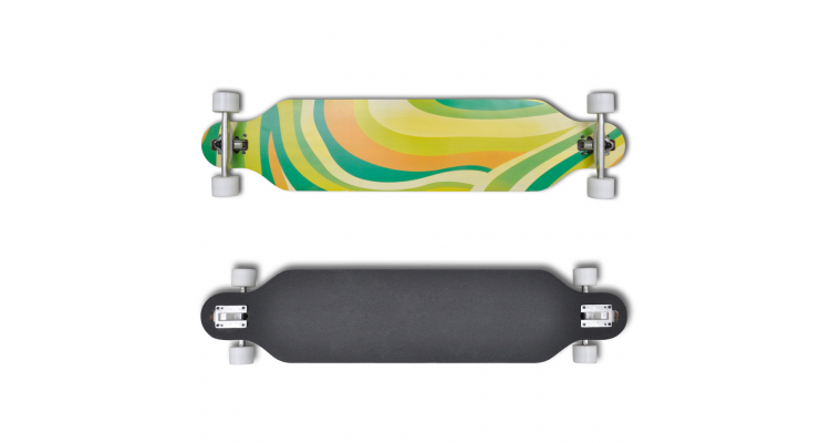 Longboard 107 cm din straturi de lemn de artar cu ax skateboard Verde