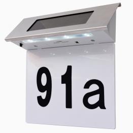 Lumina solara cu LED pentru numarul casei, otel inoxidabil