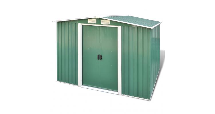 Magazie de depozitare pentru gradina cu fundatie, verde
