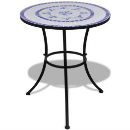 Masa cu blat mozaic 60 cm Alb/Albastru