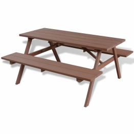 Masa de picnic cu bancute din WPC 150x139x72.5 cm Maro