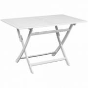 Masa pentru exterior dreptunghiulara din lemn de acacia, alb