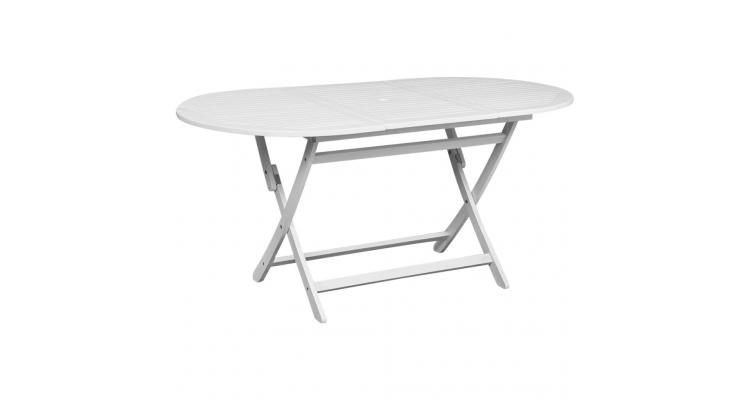 Masa pentru exterior ovala din lemn de acacia, alb