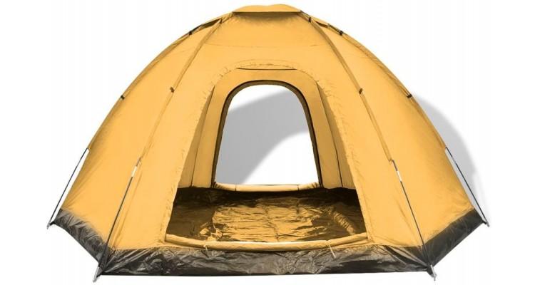 Cort camping pentru 6 persoane, galben