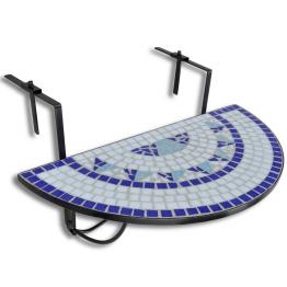 Masa suspendata pliabila pentru balcon semi-circulara, Alb-Albastru