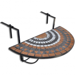 Masa suspendata pliabila pentru balcon semi-circulara, Rosu-oranj-Alb