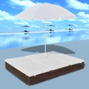 Mobilier de lux pentru exterior cu umbrela, Maro