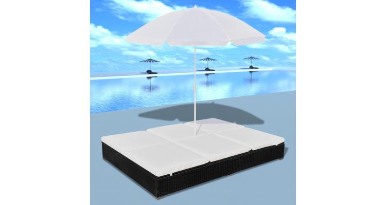 Mobilier de lux pentru exterior cu umbrela, Negru