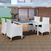 Mobilier gradina din poliratan 4 scaune+masa, Alb