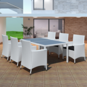 Mobilier gradina din poliratan 6 scaune+masa, Alb