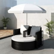 Mobilier gradina din poliratan cu parasolar, Negru