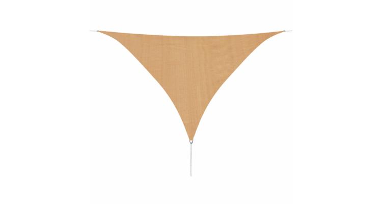 Panza parasolar din HDPE triunghiulara, 5 x 5 x 5 m, bej