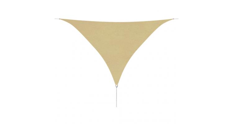 Parasolar din tesut oxford triunghiular, 5 x 5 x 5 m, bej