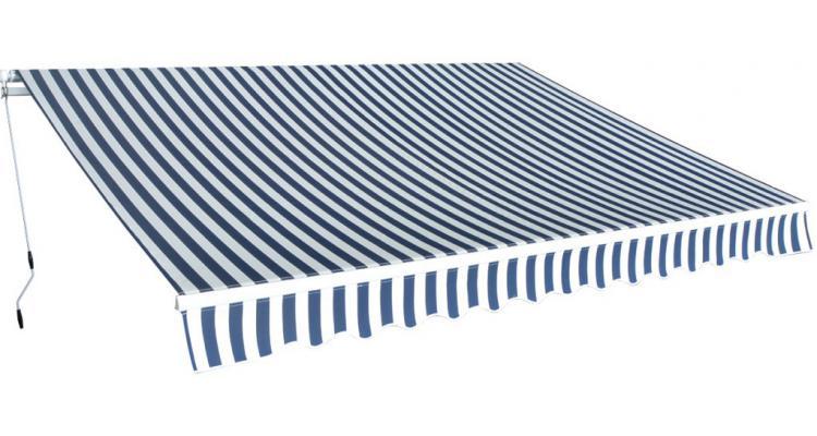 Parasolar pliabil manual 3.5x2.5 m, albastru si alb