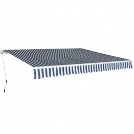 Parasolar pliabil manual 4x3 m, albastru si alb