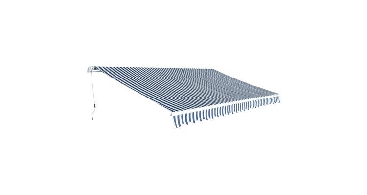 Parasolar pliabil manual 5x3 m, albastru si alb imagine 2021 kivi.ro