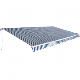 Parasolar pliabil manual, 6 x 3 m, albastru si alb