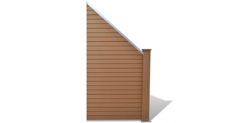 Panou pentru gard gradina din lemn compozit WPC, oblic, maro
