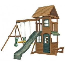 Complex de joaca din lemn de cedru cu leagane Windale, Big Backyard by Kidkraft