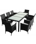 Set mobilier de exterior, 17 piese, poliratan, negru