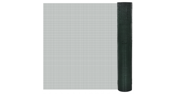 Plasa sarma galvanizata si acoperita cu PVC 1m x 25m, ochi 25 x 25 mm