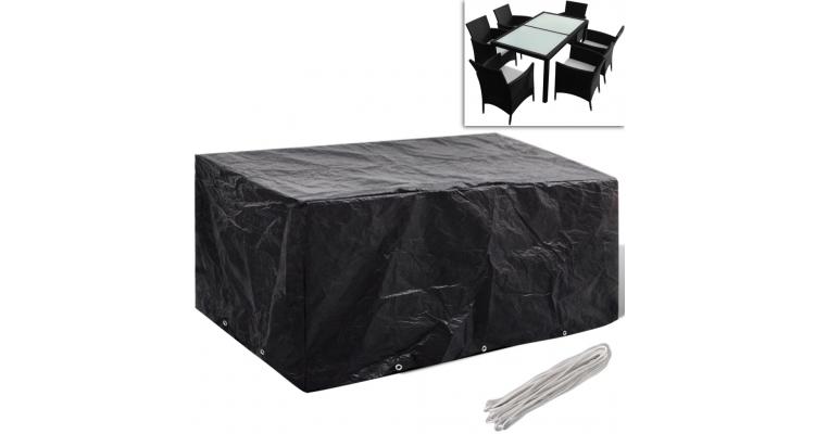 Prelata mobilier exterior din poliratan cu 10 inele 240 x 140 cm poza kivi.ro