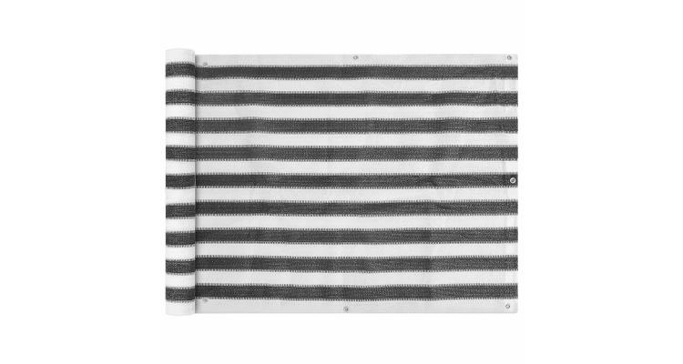 Prelata pentru balcon din HDPE, 90 x 600 cm, antracit si alb