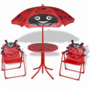 Set mobilier de gradina pentru copii, 4 piese, rosu