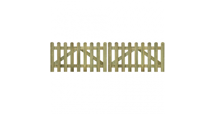 Poarta din scanduri de gard din lemn tratat 300 x 80 cm, 2 buc.