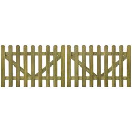 Poarta din scanduri de gard din lemn tratat 300x100 cm, 2 buc.