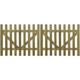 Poarta din scanduri de lemn tratat, 2 buc, 300 x 120 cm