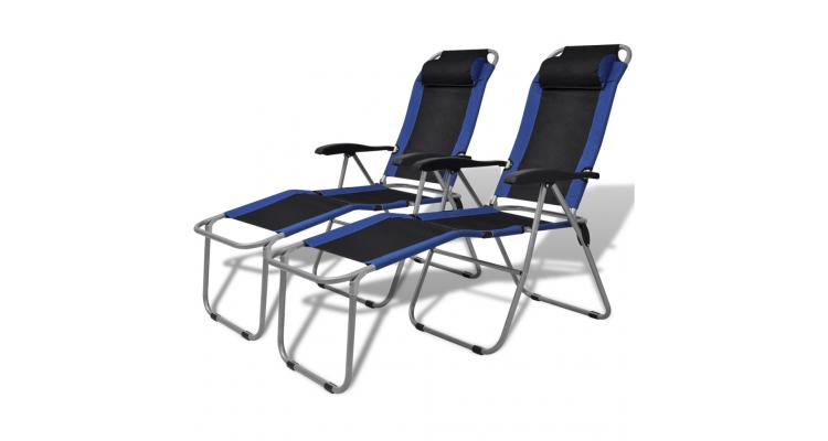 Scaun de camping rabatabil, albastru si negru, 2 buc.