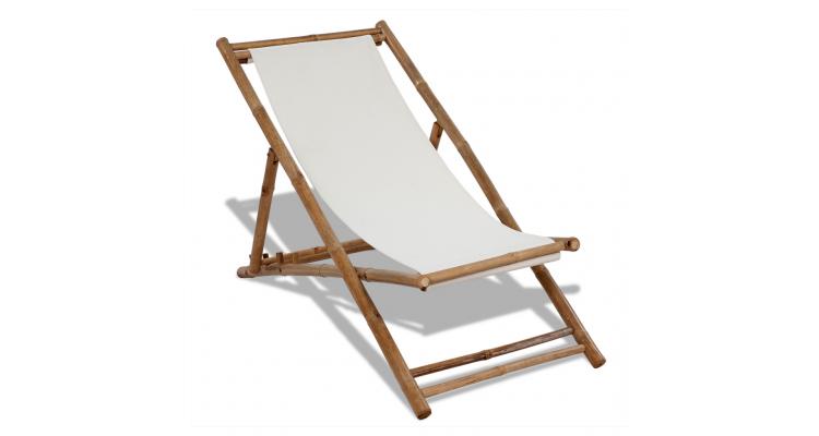 Scaun din lemn de bambus si panza
