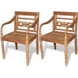Scaun din lemn de tec 2 buc.