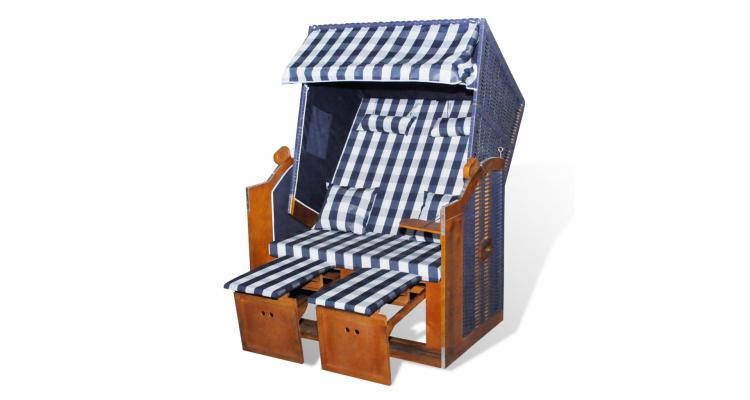 Scaun gradina pliabil din ratan cu marchiza, Albastru si Alb