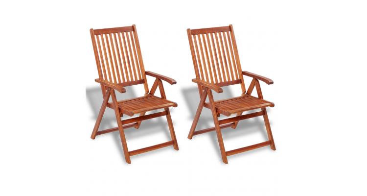 Set 2 scaune din lemn spatar reglabil 5 pozitii