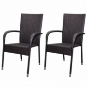Set 2 scaune gradina din poliratan, Maro