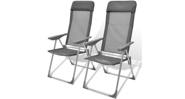 Set 2 scaune pliabile pentru camping din aluminiu