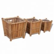 Set 3 ghivece din lemn de bambus captusite cu nylon