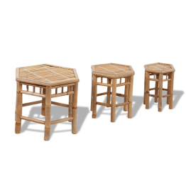 Set 3 scaune din lemn de bambus