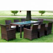 Set 6 scaune + 1 masa din poliratan pentru exterior, Maro