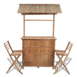 Set bar din lemn de bambus 2 scaune bar+1 masa