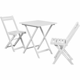 Set Bistro 3 piese, masa + 2 scaune din lemn de salcam, Alb
