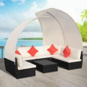 Set canapea de exterior din poliratan cu baldachine, negru