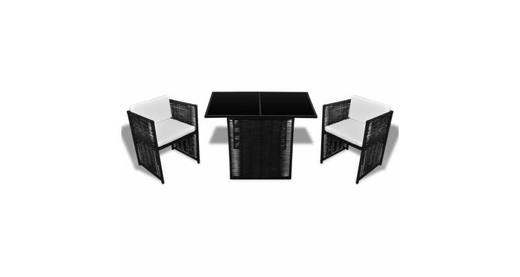 Set canapea de gradina din poliratan 7 piese negru