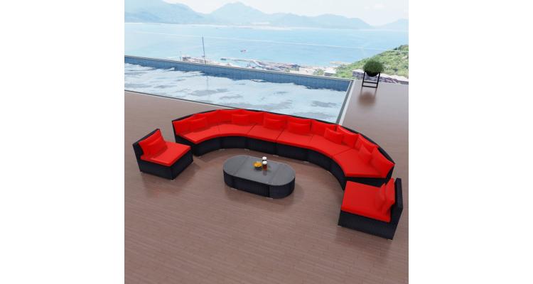 Set canapea gradina din poliratan, Rosu imagine 2021 kivi.ro
