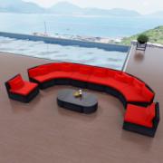 Set canapea gradina din poliratan, Rosu