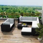set canapea pentru gradina din poliratan, 32 piese, negru