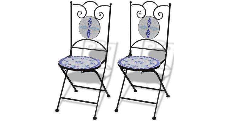 Set de 2 scaune din mozaic, culoare albastru si alb