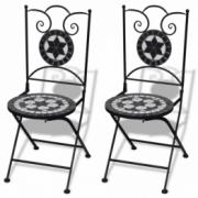 Set de 2 scaune din mozaic, culoare negru si alb